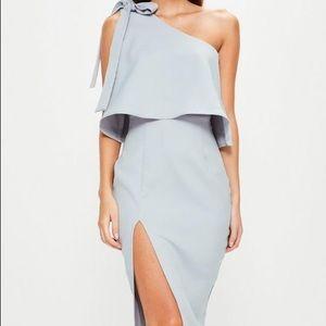 grey crepe one shoulder bow sleeve midi dress